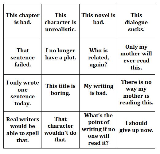 insecure writer bingo